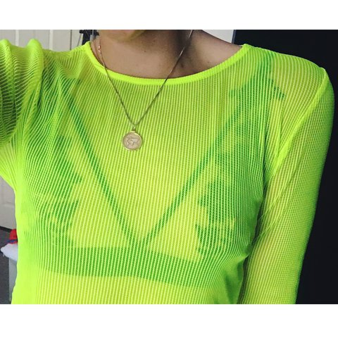 96f4341151875 Neon Luminous Yellow Green Sheer Mesh Ribbed Long Sleeve Top - Depop