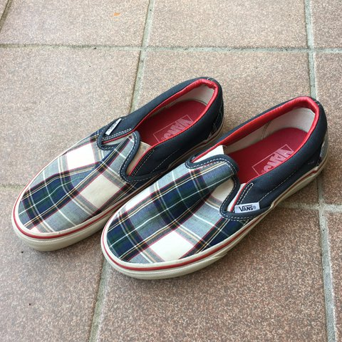 781ce96f32 Plaid slip on vans in good condition. These are so sick and - Depop