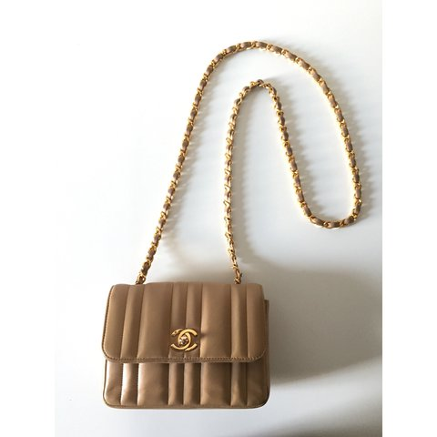 ccad55590aee @theluxurycollection. last year. London, United Kingdom. AUTHENTIC Chanel  Vintage Beige Tan Lambskin Square Mini ...