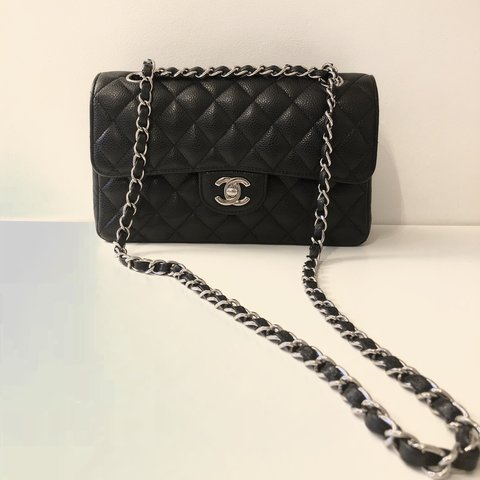 33808e05d1dd12 @theluxurycollection. 7 months ago. London, United Kingdom. Chanel - Classic  Double Flap Bag - Small Quilted Black Caviar Leather with Silver Hardware