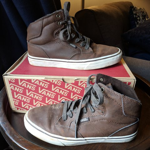aaf7e8f399ff VANS Off The Wall Leather High Top shoes. Size  7.5 signs a - Depop