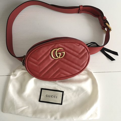 ee2e90cc2976 @ace_of_a. 5 months ago. London, United Kingdom. Reduced! Gucci Marmont  matelassé leather belt bag in red.