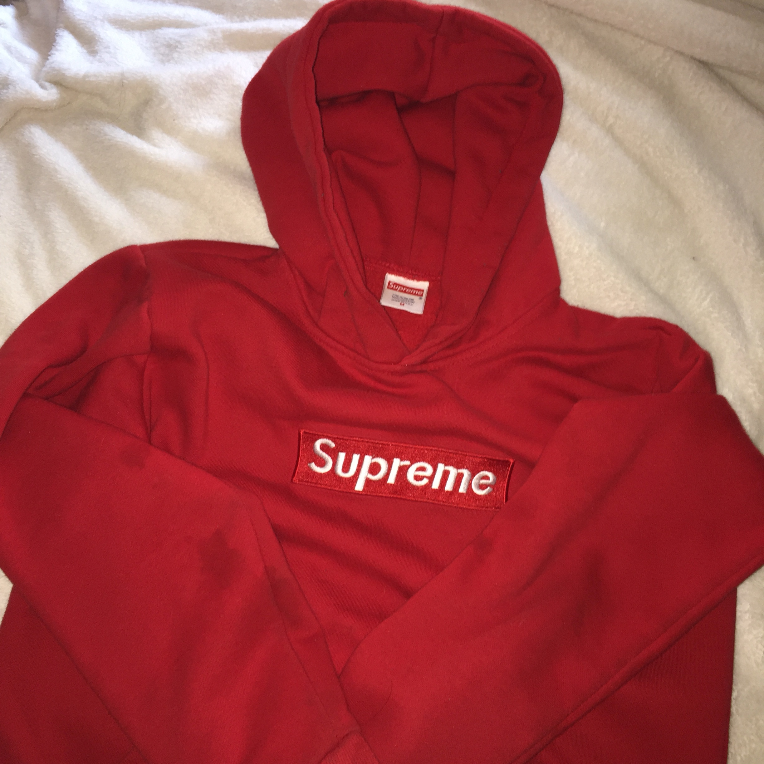 modern style incredible prices hot-selling fashion red supreme box label hoodie with minor piling. pre... - Depop