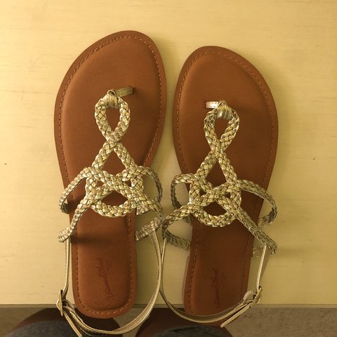 e16a6f6cbd81 Universal Thread (Target) brown and gold sandals