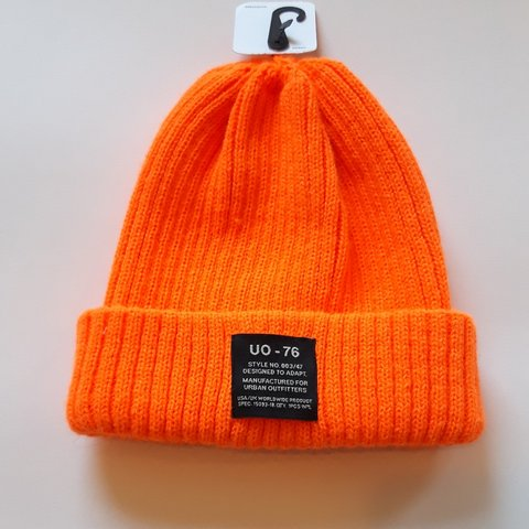 85db69527 Urban outfitters bright orange knitted wool beanie hat in UK - Depop