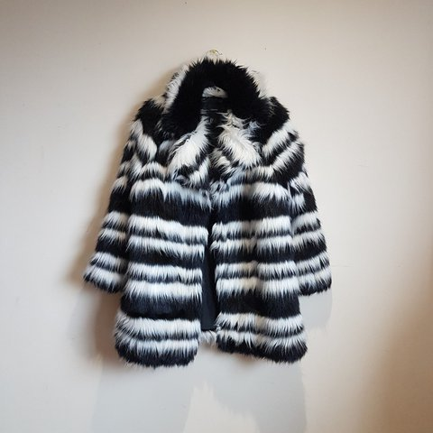 7672377583 @tylrandrsn. 2 years ago. Aberdeen, UK. black and white striped faux fur  coat ...