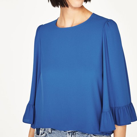 fcb5e556 @a_eli. last year. Aberdeen, United Kingdom. Zara Top with Kimono Sleeves  Size S Worn only once- perfect condition. Beautiful cobalt blue colour