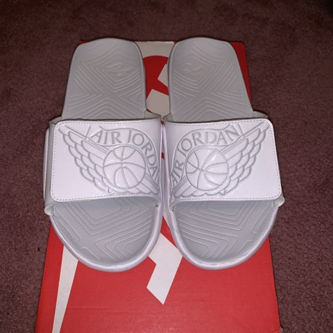 310647505 all white nike air jordan slides! dead stock never is  40 6 - Depop