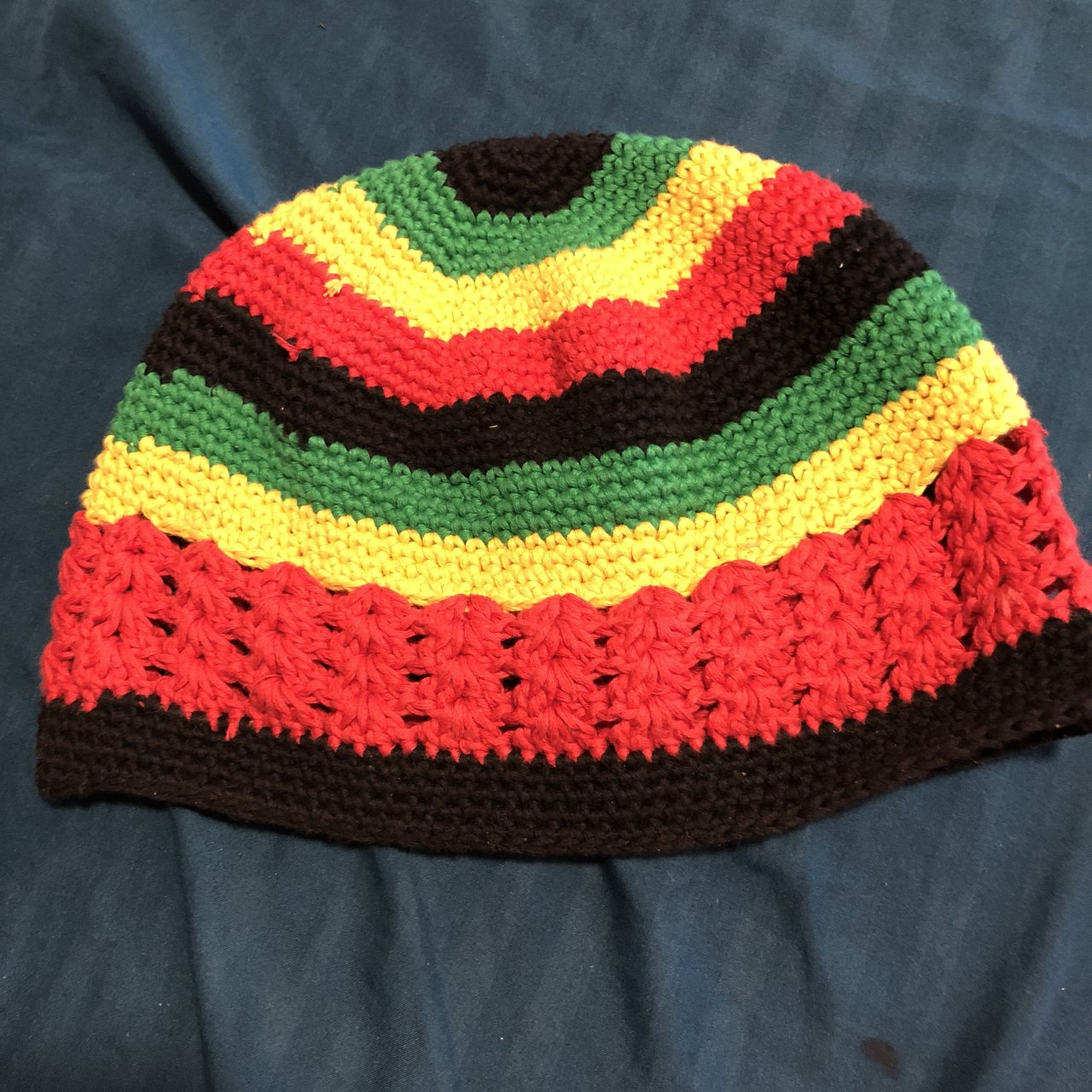 Jamaican Inspired Crocheted Beanie Hat. Previously loved. - Depop 8da7dc95272