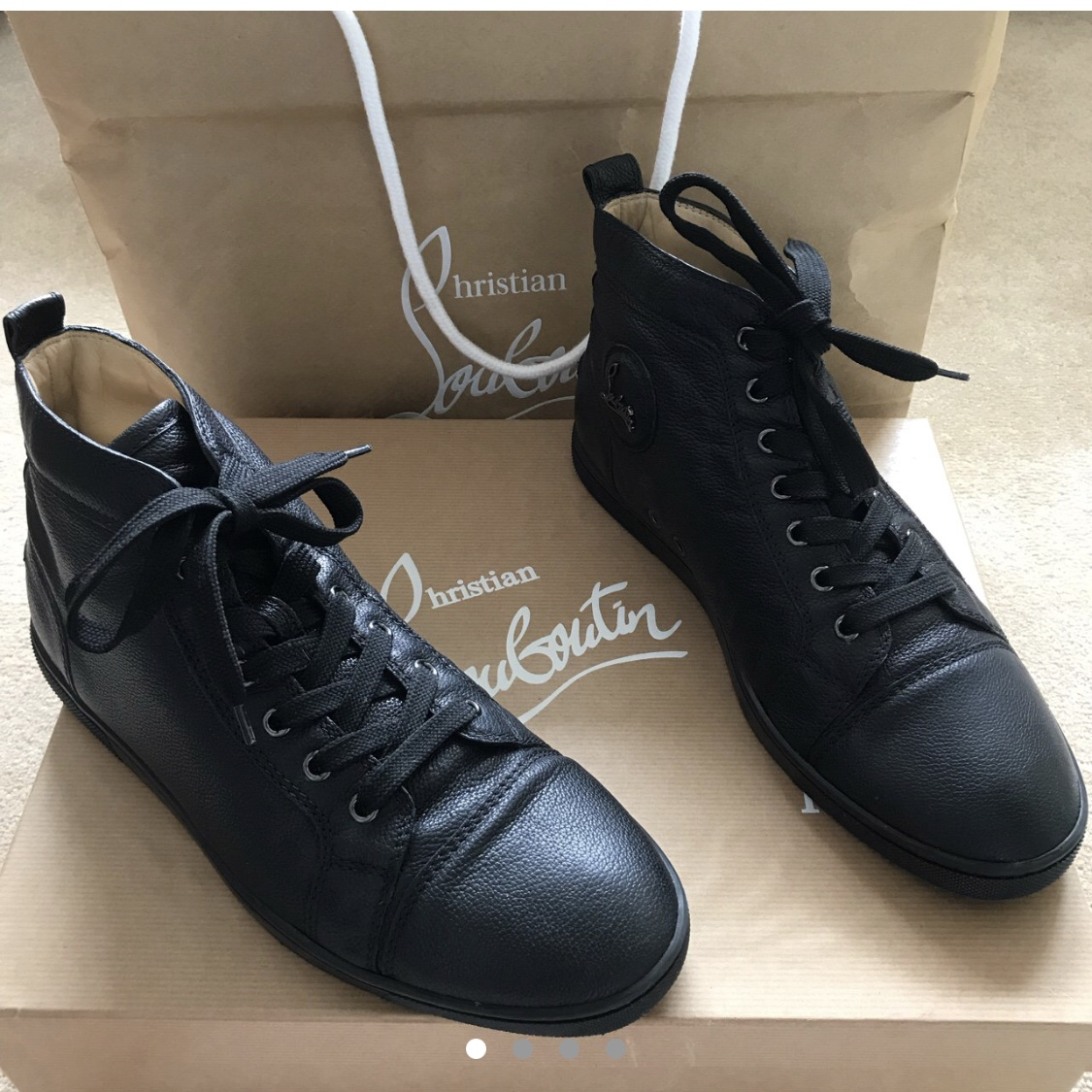info for fafc0 5f1e5 Classic black leather louboutins. Men's. Worn... - Depop