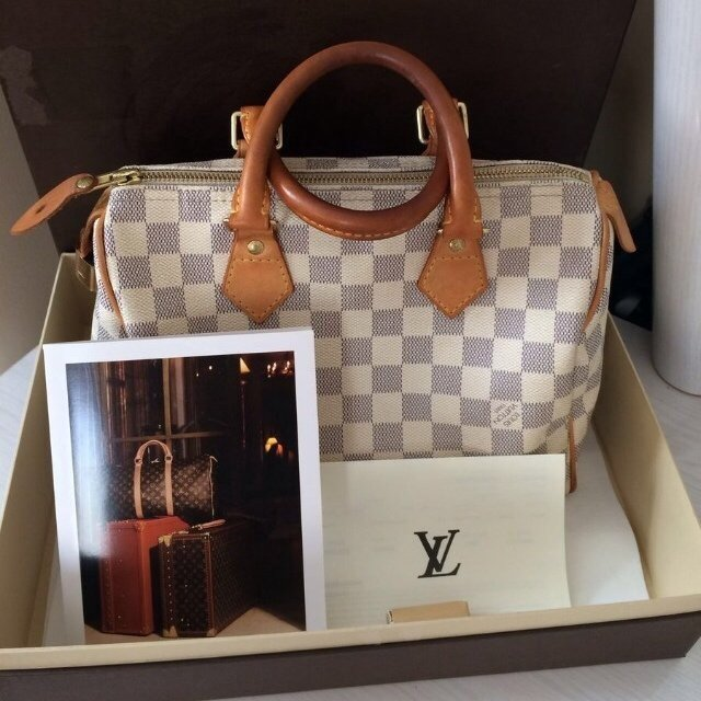 ae5aaef0350b 100% authentic Louis Vuitton Speedy 25 Damier Azur Handbag a - Depop