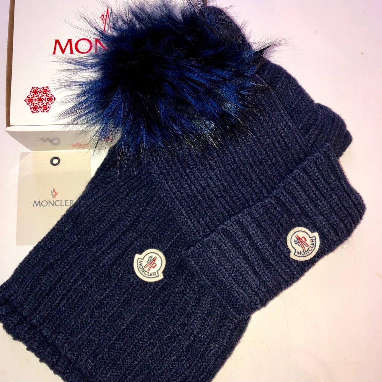 Moncler hat and scarf set new in box - Depop 2eb03dd68fc