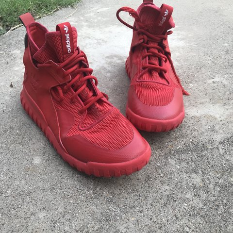 0fa67bceb3f7 Adidas Tubular x Red October One of the shoelaces needs to - Depop