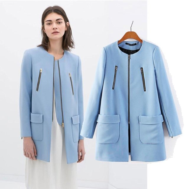 Brand new replica zara coat jacket never worn, light blue, zip ...