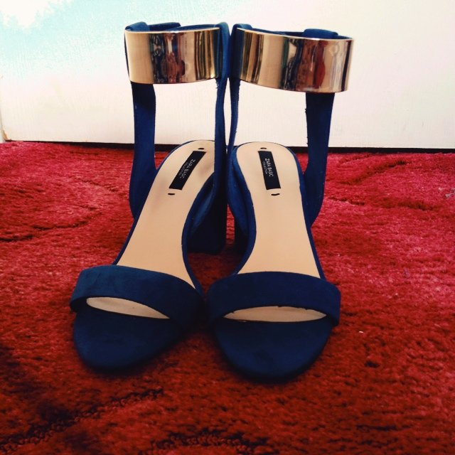 6836c0c1108 Zara Royal blue shoes. Block heels. Gold Strap shoes. Never - Depop