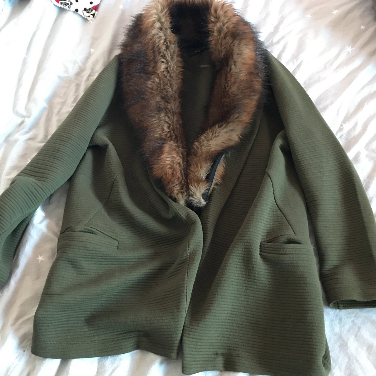 6566237d6bc River island fur collared jersey blazer jacket size 18 - and - Depop