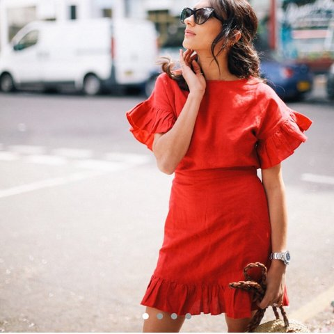 08783e3f7a Mango red linen summer dress with belt and frills   ruffle - - Depop