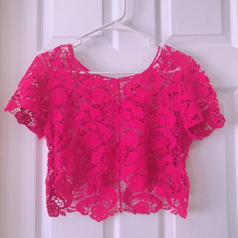 33a3032bb0 Pink lace crop top