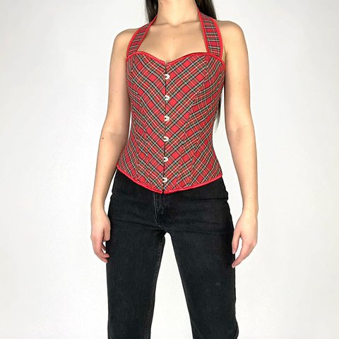 Super cute red plaid halter corset ❤️