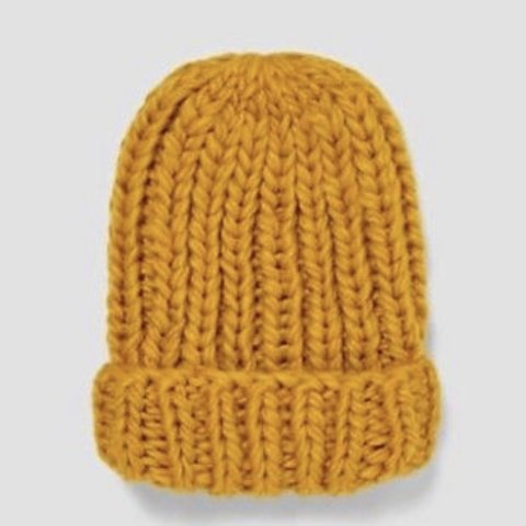 1afdc26c @clarebearleeds. 4 months ago. Leeds, United Kingdom. Oversize mustard  yellow knit beanie hat wooly hat. Slouchy fit. From Zara