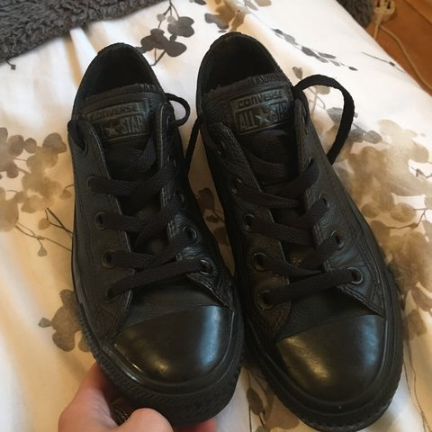 73d14d54cfd0 Black leather converse. Perfect condition UK size 3. £30 😊 - Depop