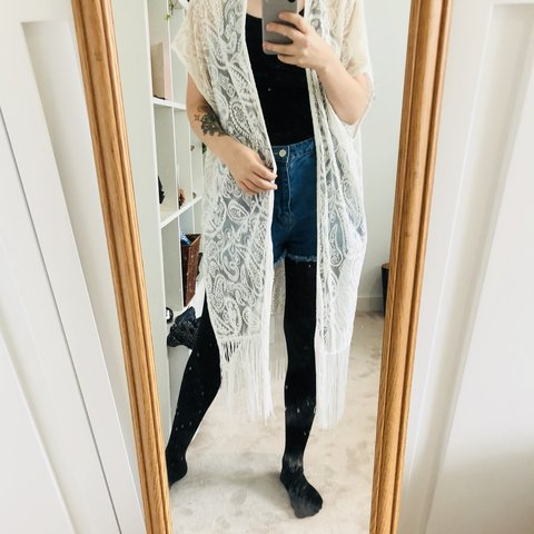 3f5bf3c489 Asos size 10 white lace kimono with tasseled detail. Great a - Depop
