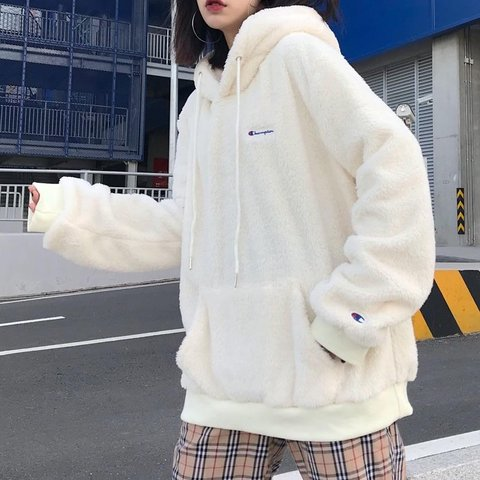 124d9a45fbca  feedmyaesthetic. last month. Japan. ✨ Champion Sherpa Hoodie ✨ Collab  between Beauty   Youth ✨ Cozy Vibes