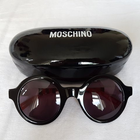 05ac23ae94 LOVE MOSCHINO sunglasses. Round style in black red and on - Depop