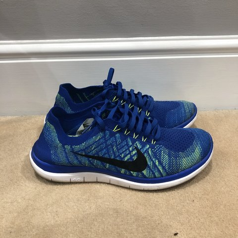 af6580d74e7fa Nike Free Run 4.0 - Flyknit - Blue and luminous green with - Depop