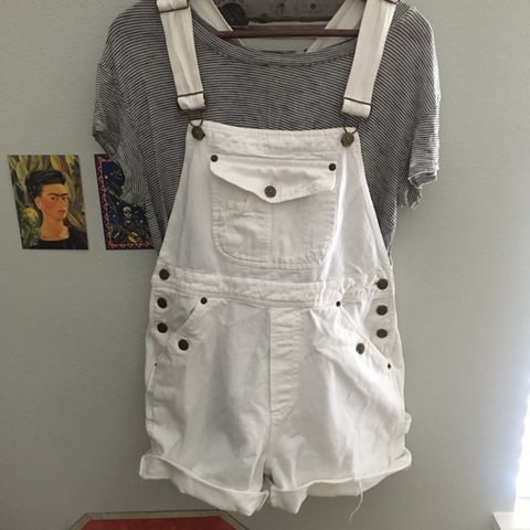 21a1d68415 white overalls shorts! size M waist is 30 inches inseam 4 - Depop