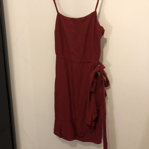 3c56caea926a Zara strappy linen dress. Burn red colour. Size 2, best 6/8 - Depop