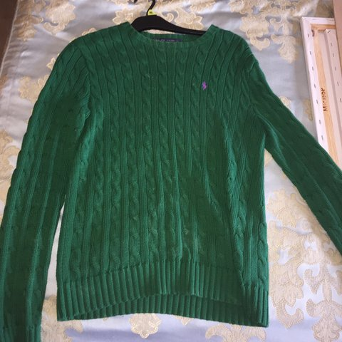 Ralph Lauren Green Cable Knit Jumper Good Condition As Only Depop