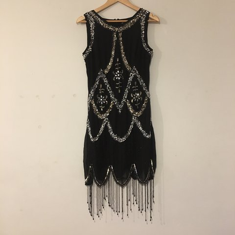5a29f42978b3 UK 8 Boohoo boutique black and silver 1920's style flapper - Depop