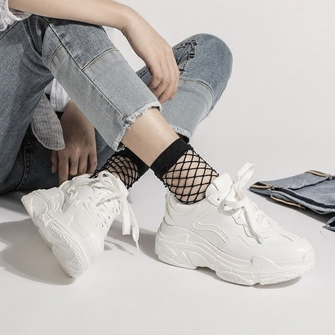 3a0f624f8f9d  vennova. last month. United States. ✨ WHITE CHUNKY PLATFORM SNEAKERS SOLD  🌟VEGAN LEATHER