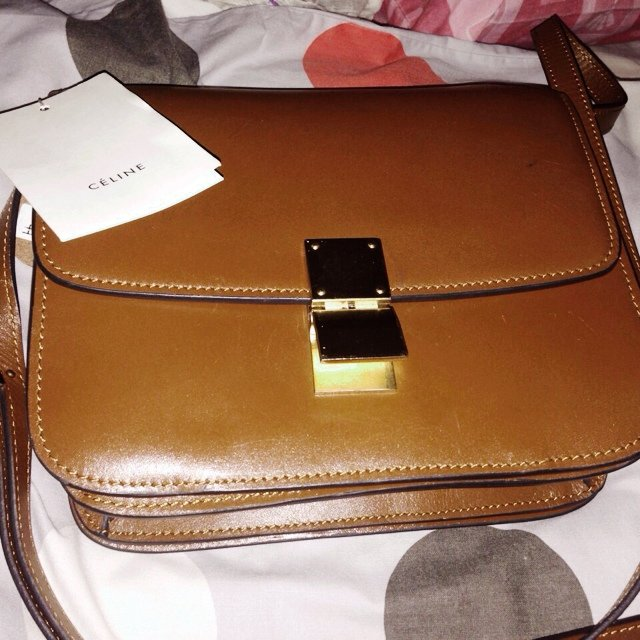 cbfe8b099e9a Preloved celine box bag Colour  mahogany brown Condition  3 - Depop