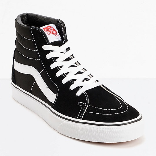 ☁️vans sk8 hi shoes in black with thin
