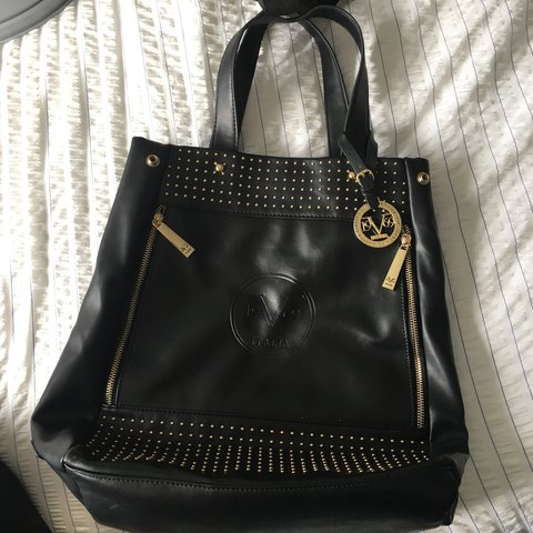 67035a70d652 Versace black leather tote   shoulder bag
