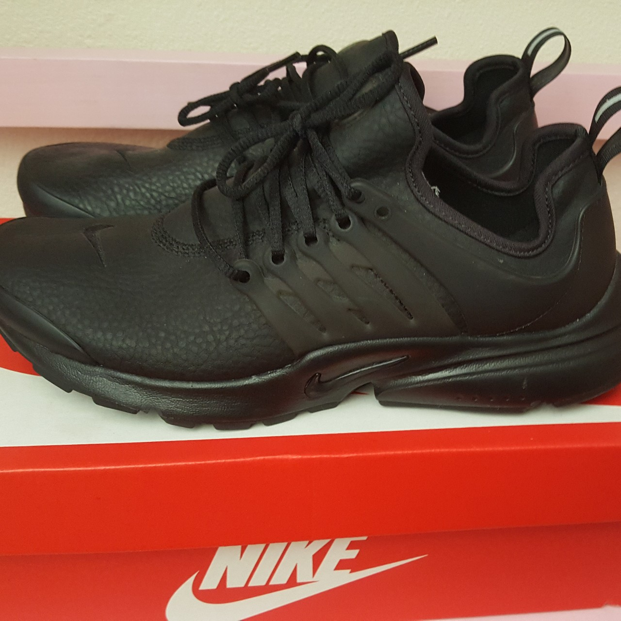 more photos d130c 86986 💕Black Leather Nike Air Presto Women's 9 New with... - Depop