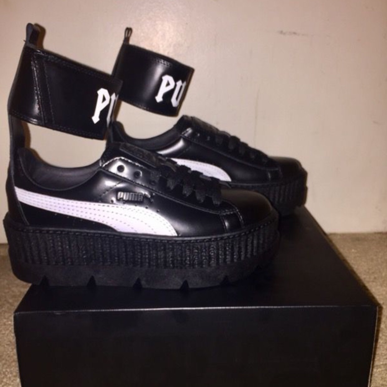 reputable site cd653 a0311 Fenty X Puma by Rihanna Black Ankle Strap Sneakers ...