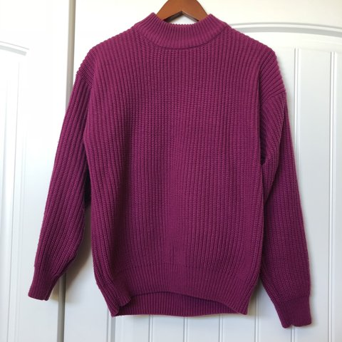 7ac20c3575 Vintage purple turtle neck sweater by carriage court labeled - Depop