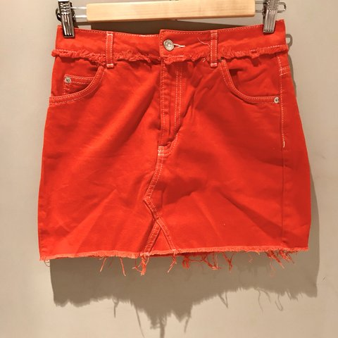 8b3b60cd17 @isabe1111. 9 months ago. Macclesfield, United Kingdom. red/orange denim  skirt from topshop never worn ...