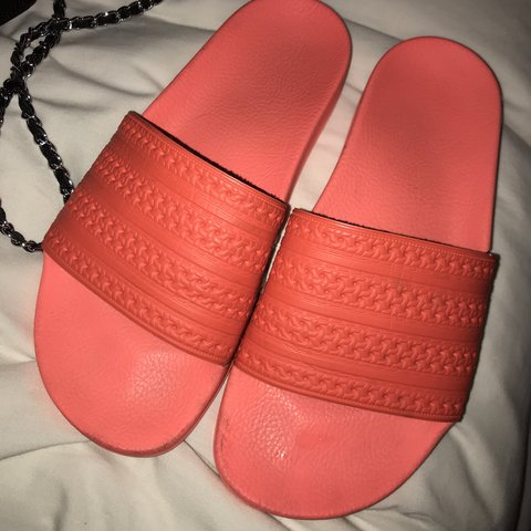 8ff197d295 NEON CORAL ADIDAS SLIDES, bought in Adidas I'm Dubai mall! a - Depop