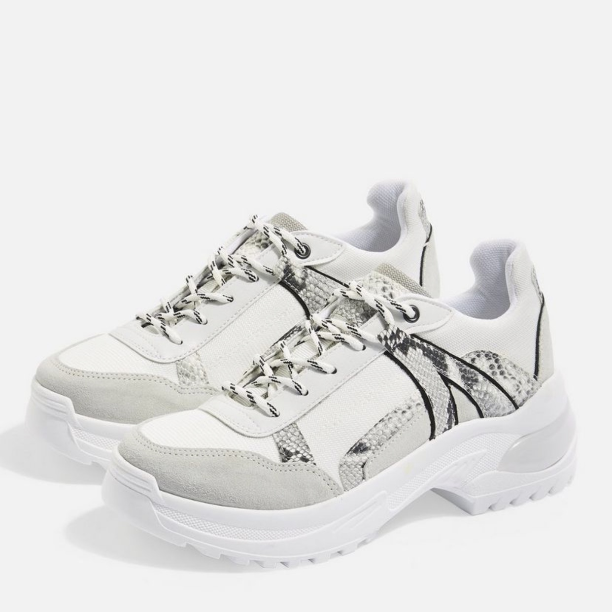 TOPSHOP snake print chunky trainers