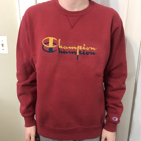 f584f993 @flippin_work. 9 days ago. New York, United States. VTG 90s Champion  Embroidered Double Script Spell Out Logo Red Sweatshirt Size XL