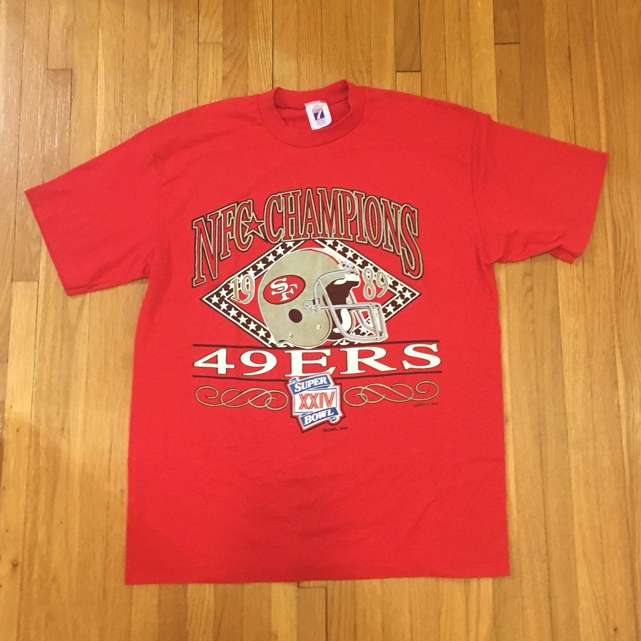 Vintage 1989 NFC Champions San Francisco 49ers football tee - Depop eb7a85716