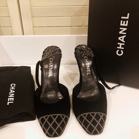 788188229946 Authentic Chanel black velvet shoes with chain back and to a - Depop