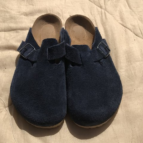 c9076cc37ae7 Birkenstock Boston Soft Footbed Suede Leather Navy Clogs for - Depop