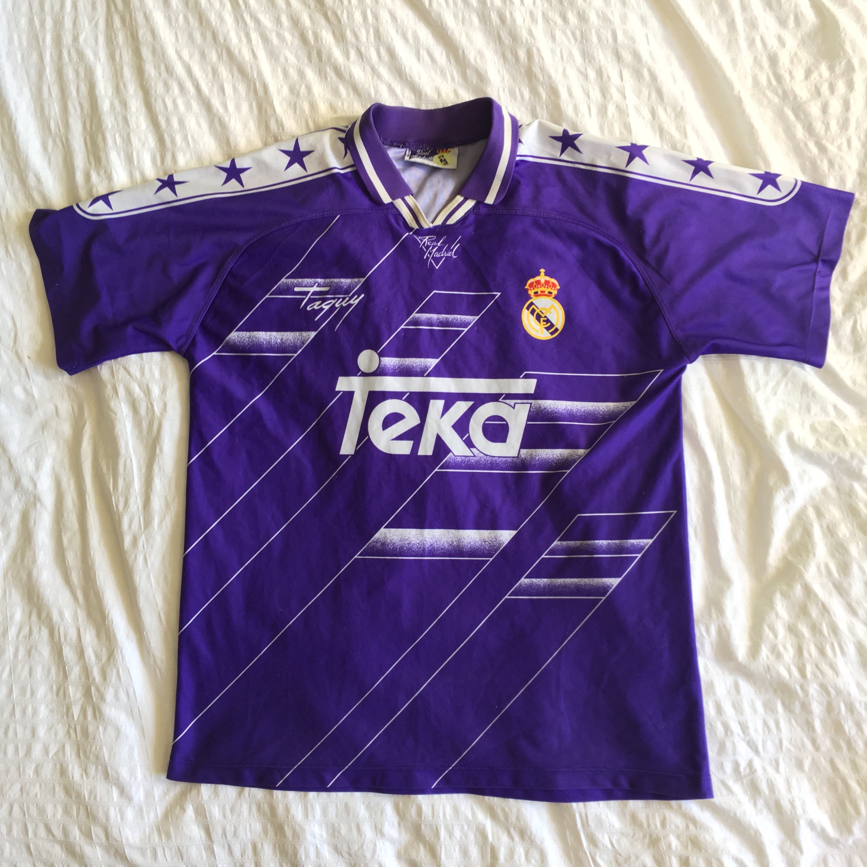 online store d2480 09c7f Official replica of 90's Real Madrid purple away... - Depop