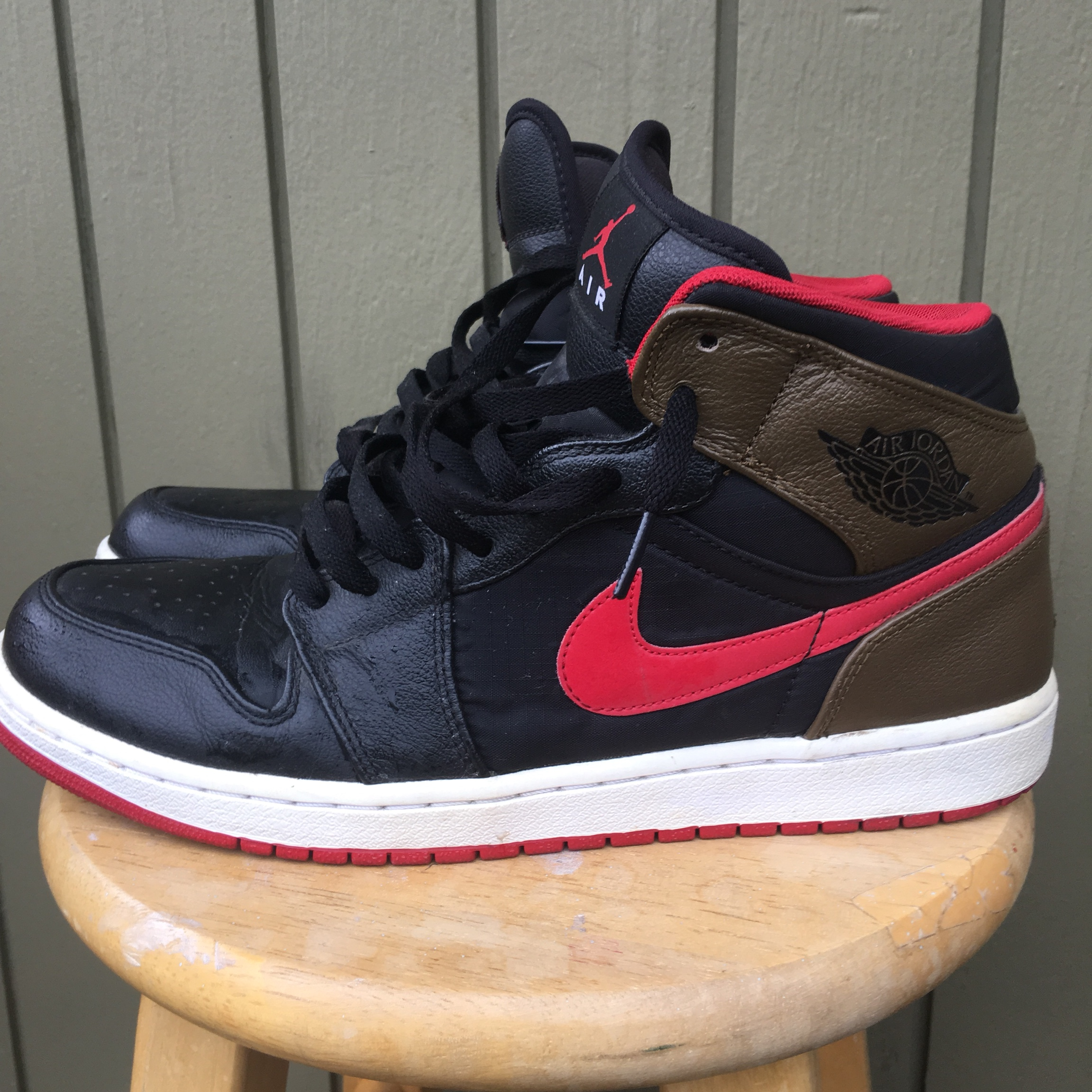 authentic quality multiple colors reasonable price Air Jordan 1 Black/Red/Brown 7/10 due to creases in... - Depop