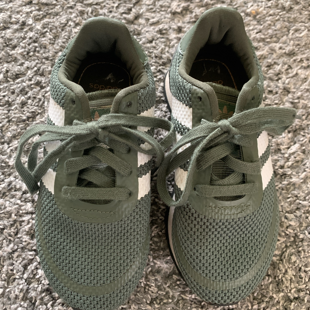 Boys size 11 green Adidas trainers worn a handful of...